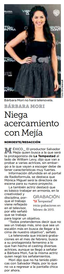 barbara mori nega acercamiento c mejia